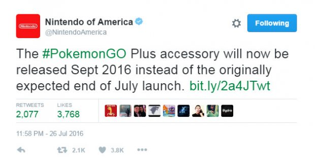 Pokemon GO Plus Tweet